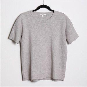Madewell Short Sleeve Sweater Wool Blend Grey XS